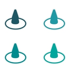 Assembly sticker colorful witch hat on a white vector