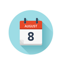 August 8 flat daily calendar icon date vector
