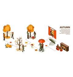 Autumn isometric infographics vector
