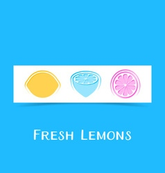 Banner with three abstract lemons vector image