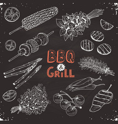 bbq vegetables sketches vector image