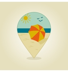 Beach parasol pin map icon summer sand sun sea vector