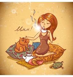 Beautiful Girl Drinking Tea or Coffee vector image