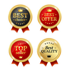 Best offer or choice sale label medal set vector