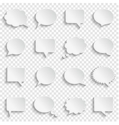 Blank empty white speech bubbles on transparent vector