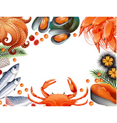 Border template with different kinds of seafood vector