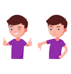 boy holds his thumb up and down vector image