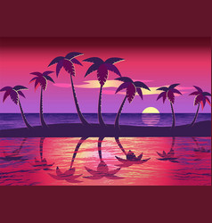 Bright sunset on sea through palm trees vector