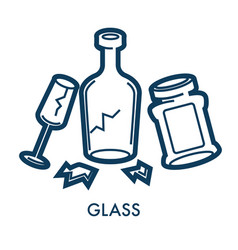Broken glass waste and disposal separation vector