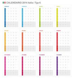 Calendar 2014 Italy Type 6 vector image