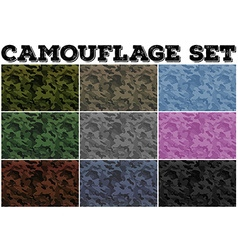 Camouflage set with military theme vector