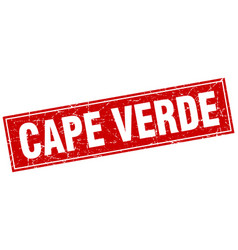 Cape verde red square grunge vintage isolated vector