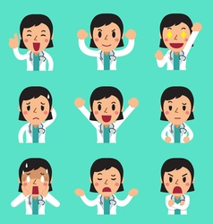 Cartoon female doctor faces showing different vector image