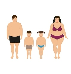 Cartoon happy fat overweight family vector