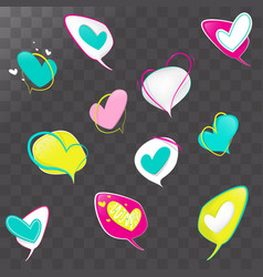 cartoon heart icon set vector image