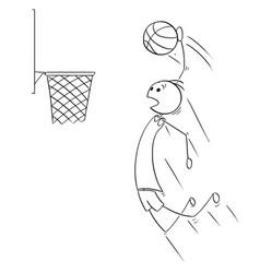cartoon of basketball player scoring goal vector image