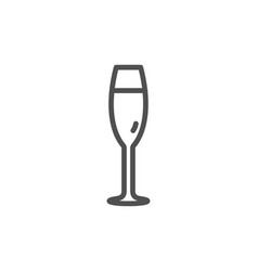 champagne glass line icon wine glass sign vector image