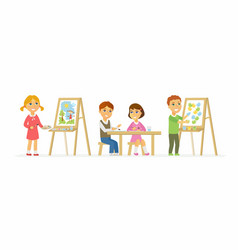 Children drawing in class - cartoon people vector