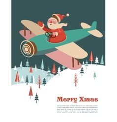 Christmas background with retro airplane and Santa vector image