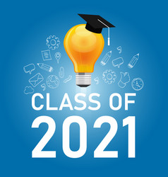 Class 2021 cap and bulb in blue symbol of vector