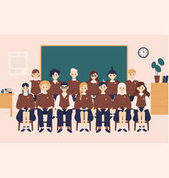 class group portrait smiling girls and boys vector image