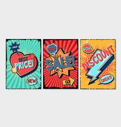 comics style backgrounds set cartoon banners vector image