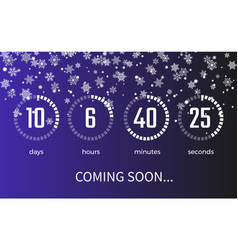 Coming soon timer and icons on vector