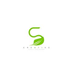 creative design leaf letter s minimalism vector image