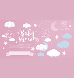 cute design elements for baby shower invotation vector image