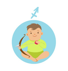 Cute little boy as sagittarius astrological sign vector