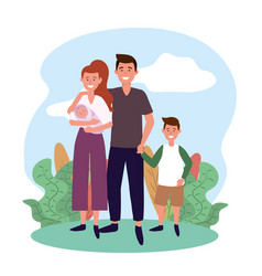 cute man and woman with baby and son vector image