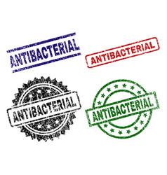 Damaged textured antibacterial stamp seals vector