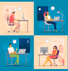 day or night work working late overtime office vector image