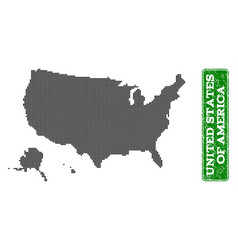 dotted map of usa territories and grunge rectangle vector image