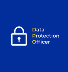dpo - data protection officer eu flag with with vector image