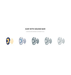 ear with sound bar icon in different style two vector image