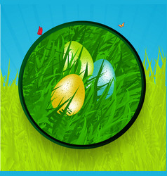 Easter border with eggs grass and butterfly vector