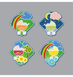 Emblems with cheerful prams vector