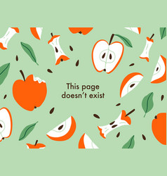 error page with sliced and eaten apples vector image