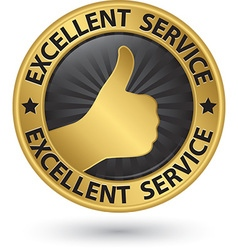 Excellent service golden sign with thumb up vector