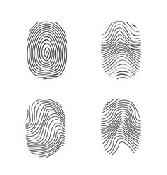 Fingerprint in black silhouette on white vector
