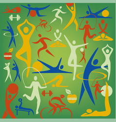 fitness and sport icons decorative background vector image