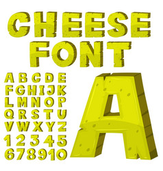 font design for english alphabets in yellow vector image