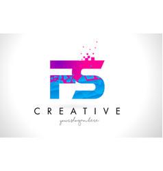 fs f s letter logo with shattered broken blue vector image