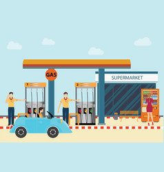 gas petroleum petrol refill station cars and vector image