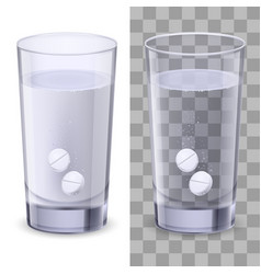 Glass and pills on white for design vector