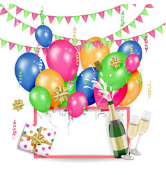 greeting card template with birthday party objects vector image