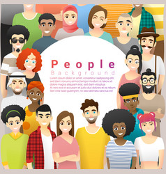 group happy multi ethnic people background vector image