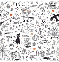 Halloween seamless pattern Pumpkin Ghosts Cats vector