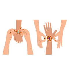 Hands giving bohemian style bracelets vector